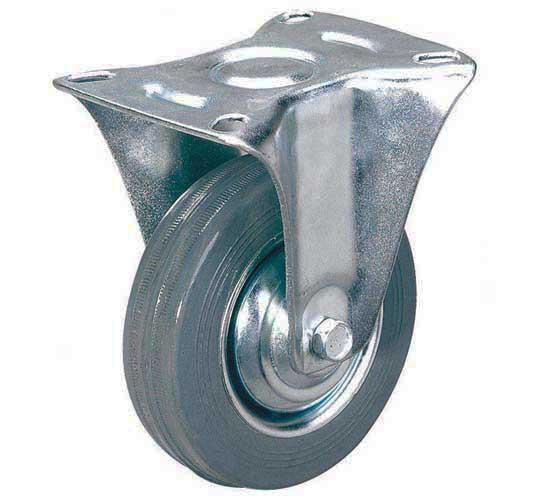 тележки, колеса и колесные опоры для тележек, колёсные опоры ,  серая резина, неповоротные серая резина платформенное крепление пластиковая втулка, FCg92