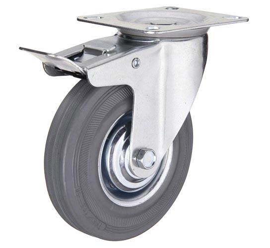 тележки, колеса и колесные опоры для тележек, колёсные опоры ,  серая резина, поворотные с тормозом серая резина платформенное крепление пластиковая втулка, SCgb25