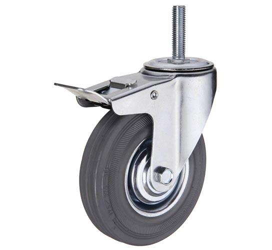 тележки, колеса и колесные опоры для тележек, колёсные опоры ,  серая резина, поворотные с тормозом серая резина штыревое крепление пластиковая втулка, SCtgb93
