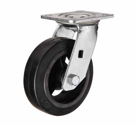 тележки, колеса и колесные опоры для тележек, большегрузные колёсные опоры, поворотные черная резина чугунная ступица игольчатый подшипник, SCd80 ,  SCd80н
