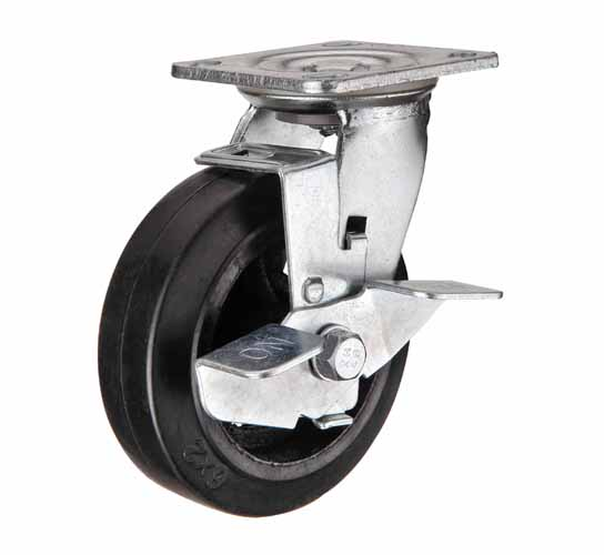 тележки, колеса и колесные опоры для тележек, большегрузные колёсные опоры, поворотные с тормозом черная резина чугунная ступица игольчатый подшипник, Scdb42 ,  Scdb42н
