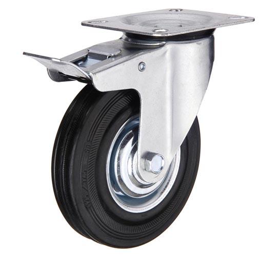 тележки, колеса и колесные опоры для тележек, колёсные опоры ,  чёрная резина, поворотные с тормозом черная резина, SCb80