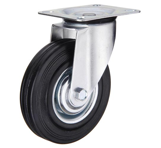 тележки, колеса и колесные опоры для тележек, колёсные опоры ,  чёрная резина, поворотные черная резина, SC55