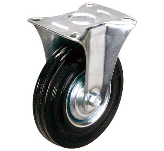 тележки, колеса и колесные опоры для тележек, колёсные опоры ,  чёрная резина, неповоротные черная резина, FC54