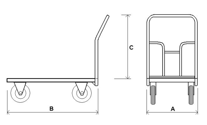 Отсутствие покрытия у платформы, облегчает и удешевляет данную модель тележки.  Площадка для крепления колес...